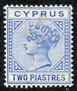 Cyprus SG34 2 pi Wmk Crown CA Die 2 m/mint (tone spot)