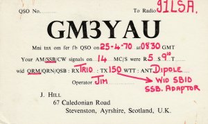 7412 Amateur Radio QSL Card  STEVENSTON AYRSHIRE SCOTLAND UK