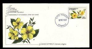 Flora & Fauna of the World #108d-Flower FDC-Allamanda Buttercup-Dominica-single
