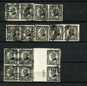 US Stamps # 611 2c Harding XF SUPERB USED Lot of 15 Superb Pairs Blocks