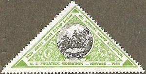 US CINDERELLA: 4th Annual New Jersey State Stamp Show MLH green sticker (1934)