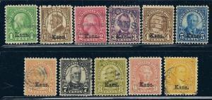 658-668 Used, Kansas Overprints, scv:  $174.15
