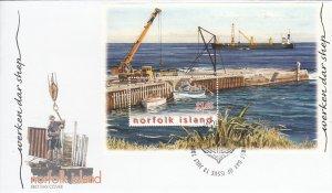 Norfolk Island 2004 FDC Sc #821 Souvenir sheet $1.65 Unloading ship cargo