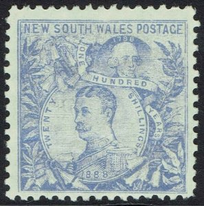NEW SOUTH WALES 1890 CARRINGTON 20/- COBALT BLUE WMK 20/- NSW IN CIRCLE PERF 11