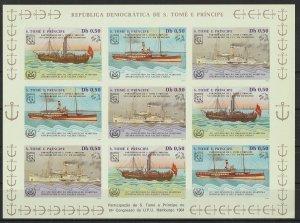 St. Thomas & Prince MNH S/S Steam Ships Imp. 1984