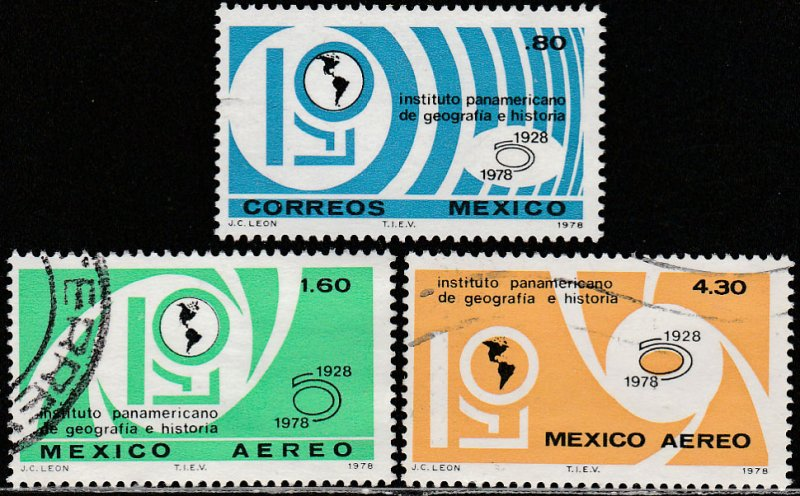 MEXICO 1162, C574-C575, PanAm Inst. of Geography & History USED. F-VF. (439)