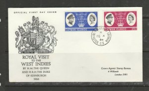 Cayman islands FDC 1966 Royal visit, Illus, SOUTH SOUND GRAND CAYMAN cds, Crown