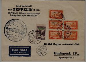 Hungary Zeppelin cover 27.3.31 Budapest,crease