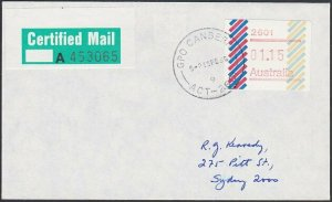 AUSTRALIA 1985 (15 Feb)  $1.15 Frama on Certified Mail cover ex Canberra....E196