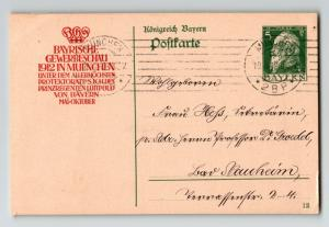 Bavaria 1912 5pf Postal Card Used / Royal Slogan Cachet - Z13526