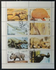 Oman 1980  sheet of 8 prehistoric used  prehistoric