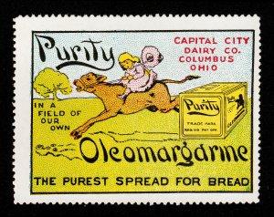 POSTER STAMP PURITY OLEOMARGARINE COLUMBUS OHIO (EARLY 1900S) MINT