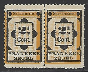 Suriname #22 Miny No Gum As Issued Pair cv $3.80 (PR2)
