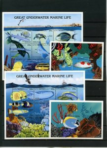 ERITREA 1997 FISH & MARINE LIFE 2 SHEETS OF 9 STAMPS & 2 S/S MNH