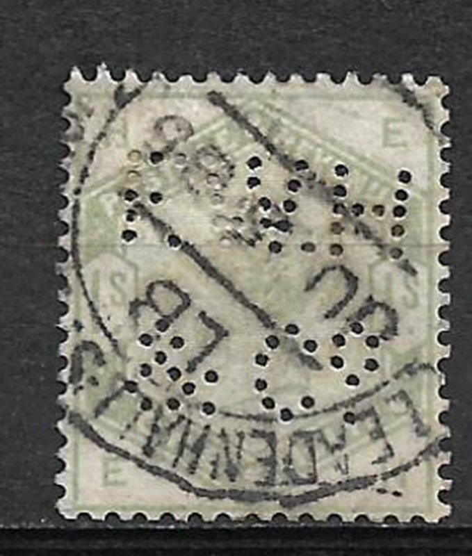 COLLECTION LOT #733 GREAT BRITAIN #107 PERFIN 1884 CV=$300 2 SCAN