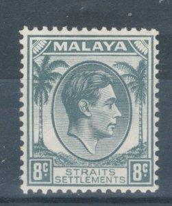 Straits Settlements 1938 King George VI 8c Scott # 243 MH
