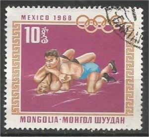 MONGOLIA, 1968, CTO 10m, Olympic Rings Scott 497