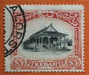 Malaya 1926 Kedah $5 MSCA Used SG#40w M2985