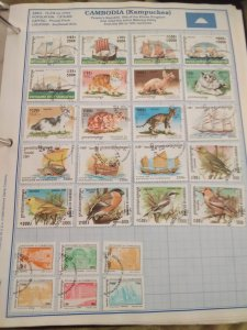 Cambodia lot page of stamps