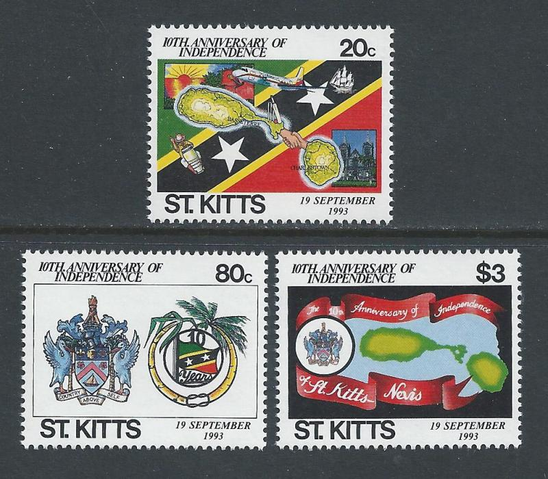 St. Kitts #366-8 NH Independence 10th Anniv