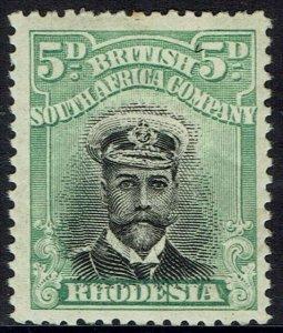 RHODESIA 1913 KGV ADMIRAL 5D DIE II PERF 14
