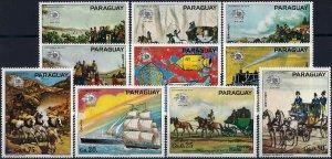 1974 Paraguay UPU, Horses, Coach, Ships, complete set VFMNH! CAT 15$