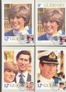 GUERNSEY: Royal Wedding 1981, 7 different MAXIMUM cards