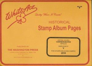 WHITE ACE 2019 US Commemorative Singles Stamp Album Supplement V