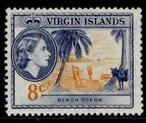 BRITISH VIRGIN ISLANDS QEII SG155, 8c yellow-orange & deep blue, M MINT.