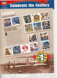 Stamp US Sc 3182 Sheet 1998 Celebrate the Century 1900s Ford Wright Brothers MNH