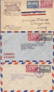 1936-1940, Costa Rica Airmail Covers, Grp 9 (S18590)