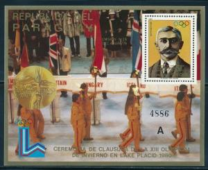 Paraguay- Lake Placid Olympic Games MNH Closing Ceremony Sheet A (1980)