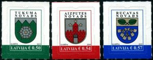 HERRICKSTAMP NEW ISSUES LATVIA Sc.# 1011-13 Coat of Arms 2019 Self-Adh.
