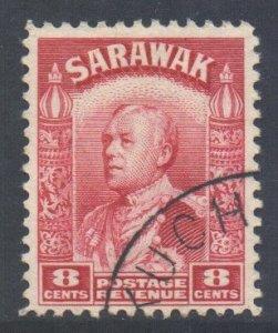 Sarawak Scott 119 - SG112a, 1934 Sir Charles Vyner Brooke 8c Red used