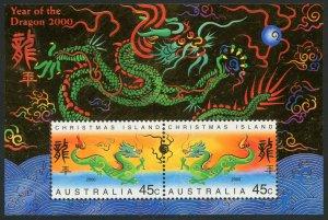 Christmas Island Scott 426b MNHOG - 2000 Year of the Dragon S/S - SCV $3.50
