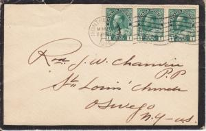 Canada Sc 104 Strip on 1916 Mourning Cover to New York