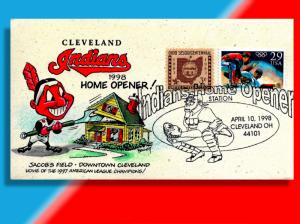 Chief Wahoo Raises the Roof on Cleveland Indians' '98 Home Opener! Handcolored!