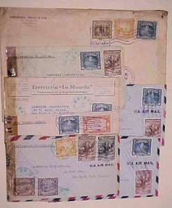 EL SALVADOR  7 CENSORED COVERS  TO USA