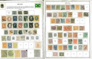 Brazil 1850-1977 M & U Hinged on Minkus Global Pages