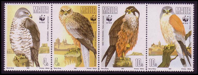 Malta WWF Migratory Birds of Prey Strip of 4v SG#898/901 SC#779-82 MI#864-67