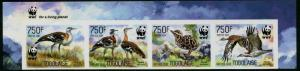 HERRICKSTAMP NEW ISSUES TOGO WWF Bustard Bird Imperf Stamp Strip