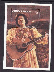 Antigua-Sc#1832-unused NH sheet-Country & Western Music-Kitty Wells