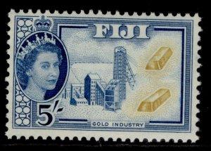 FIJI QEII SG293, 5s ochre & blue, M MINT.