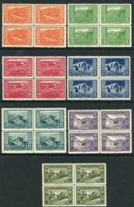 ALBANIA-1923 Views #147-153 UNMOUNTED MINT set in blocks of 4 V37814