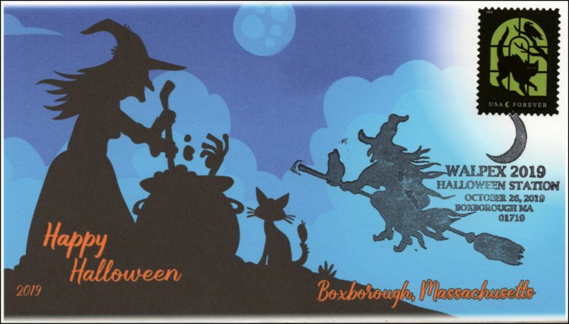 19-281, 2019, Halloween, Pictorial Postmark, Event Cover, Boxorough MA