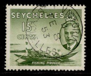 SEYCHELLES GVI SG161, 15c deep yellow-green, VERY FINE USED. CDS