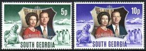 South Georgia 35-36, MNH. QE II Silver Wedding. Penguins, Seal, 1972