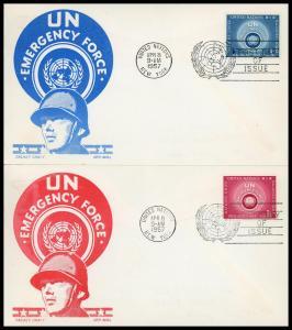 UN FDC #51-52 Badge of UN Emergency Force - Cachet Craft - Boll Cachet