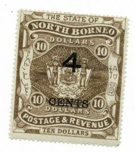 North Borneo 1899 QV 4c on $10 brown MLH. SG 124. Sc 102.