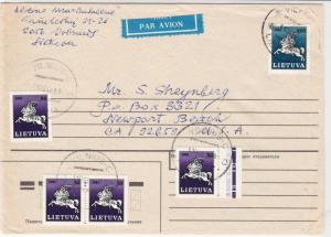 Lithuania 1990s Airmail  to U.S.A. multiple Stamps Cover ref R 17274